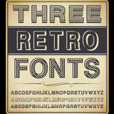 Three Vintage Fonts Royalty Free Stock Photos