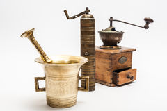 Three vintage grinders Stock Images