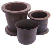 Three Vintage mortars Stock Photos