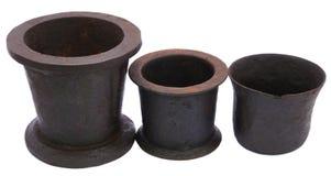 Three Vintage mortars Stock Image