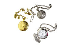 The three vintage pocket watch with chain Royalty Free Stock Photo