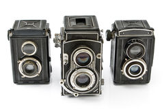 Three Vintage two lens photo camera Stock Image