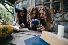 Three vintage witches perform magic ritual Royalty Free Stock Photos