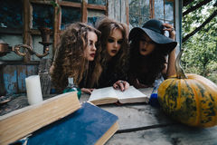 Three vintage witches perform magic ritual Stock Photos