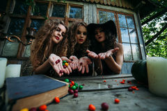 Three vintage witches perform magic ritual. Throwing sweet at a table on the eve of Halloween Royalty Free Stock Image