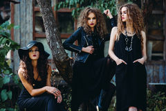 Three vintage women as witches Royalty Free Stock Images