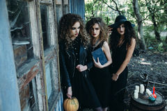 Three vintage women as witches Stock Images
