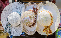 Three vintage of woven hat. Royalty Free Stock Photos