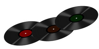 Three vinyl LPs in a curve, isolated over white backgrounb Stock Photography