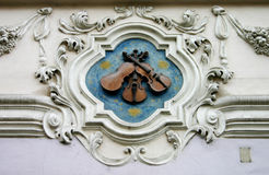 Three violins. Three violin sign of store in prague town Stock Images