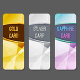 Three vip premium membership vertical cards flyers layout. Premium exclusive privilege private retail services. Gold silver and sapphire luxurious geometrical Stock Photography