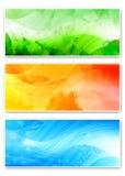 Three vivid abstract cards. Two vivid horizontal background templates Royalty Free Stock Photo