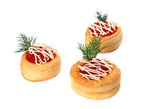 Three vol-au-vents filled with the salmon caviar Royalty Free Stock Image