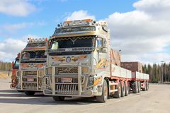 Three Volvo Rock Transport Trucks Stock Photography