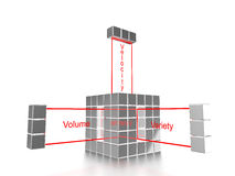 The three Vs of big data cube. Silver cube composed of small cubes and the words variety,velocity and volume coming out of it 3D illustration big data concept Royalty Free Stock Image