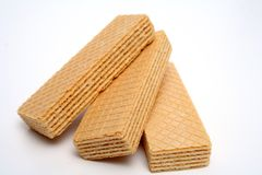 Three wafers with a vanilla cream the top view. Closeup Royalty Free Stock Images