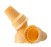 Three waffle cones Stock Images