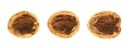 Three walnut shells isolated Royalty Free Stock Photography