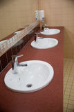 Three of wash basin in the rest room Stock Image