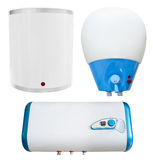 Three water electric heaters, isolated Royalty Free Stock Photos