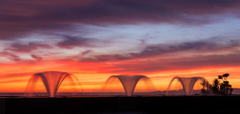 Three Water Fountains Sunrise Stock Photos