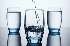 Three Water Glasses Royalty Free Stock Photos