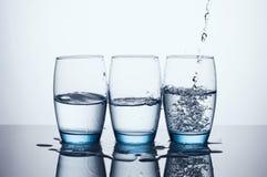 Three Water Glasses Stock Photo