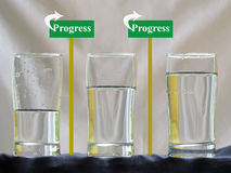 Three Water Glasses with Progress Concept Royalty Free Stock Images