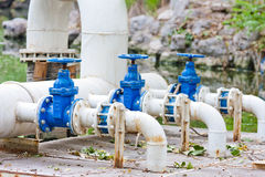 Three water valves. Of sewage treatment system Stock Photo