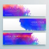 Three watercolor background header banner design. Vector stock illustration