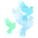 Three watercolor doves Stock Photography