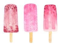 Three watercolor fruit popsicle Stock Photos