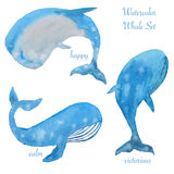 Three watercolor whales Stock Images