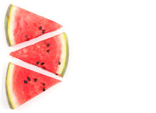 Three watermelon slices, top view Stock Image