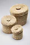 Three wattled baskets Royalty Free Stock Photo