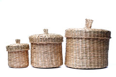 Three wattled baskets isolated on white Stock Photography