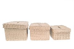 Three wattled baskets isolated on white background Royalty Free Stock Photography