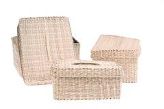 Three wattled baskets isolated on white background Stock Image