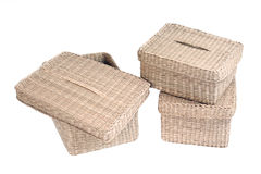 Three wattled baskets isolated on white background Stock Photography