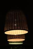 Three wattled lamp shades Stock Photo