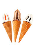 Three waver cones of ice cream Stock Photos