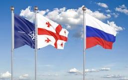 Free Three Waving Flags. - 3D Illustration. – Illustration Royalty Free Stock Photos - 156988788