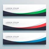 Three wavy web banners header design Stock Image