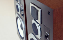 Three Way Big Audio Stereo Loud Speaker Closeup, loudspeaker pair stock photography