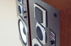Three Way Big Audio Stereo Loud Speaker Closeup, loudspeaker pai Royalty Free Stock Photo