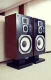 Three Way Big Audio Stereo Loud Speaker Closeup, loudspeaker pair stock image