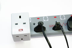 Three way electric socket Royalty Free Stock Image