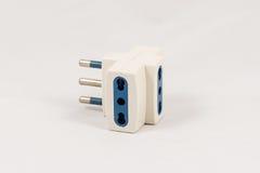 Three way EU electric plug adaptor Royalty Free Stock Images