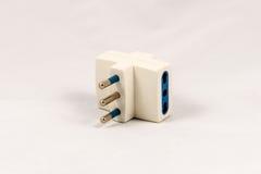 Three way EU electric plug adaptor Royalty Free Stock Photography