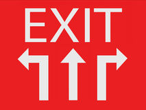 Three way for exit sign. Concept Stock Images